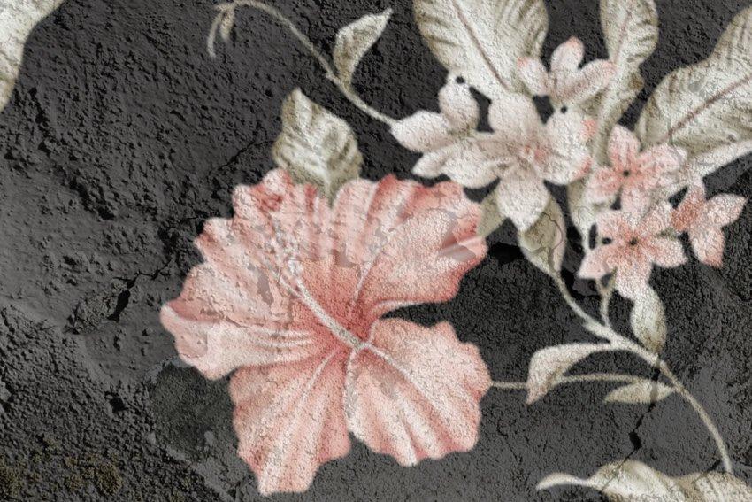 dettaglio carta da parati fiori su cenere