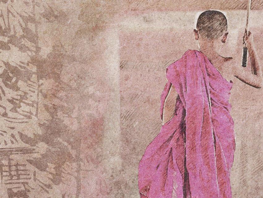 dettaglio carta da parati monaco bambino