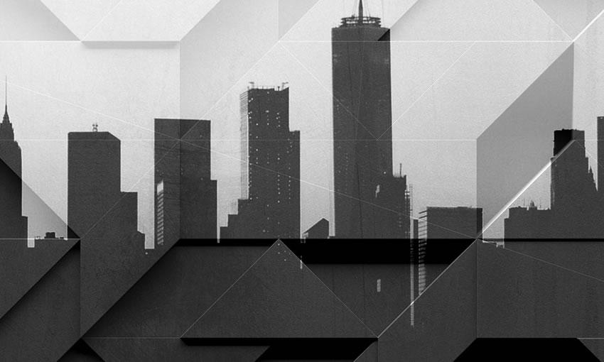dettaglio carta da parati skyline moderno