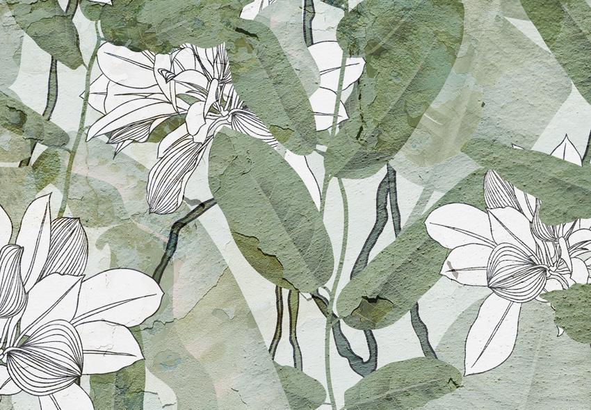 dettaglio carta da parati foglie intonaco