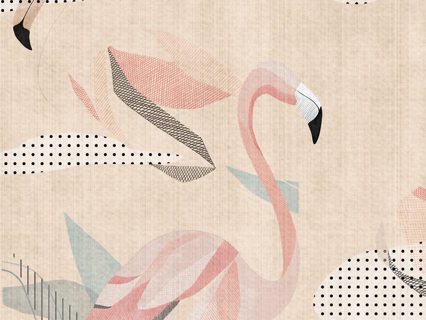 dettaglio carta da parati flamingo
