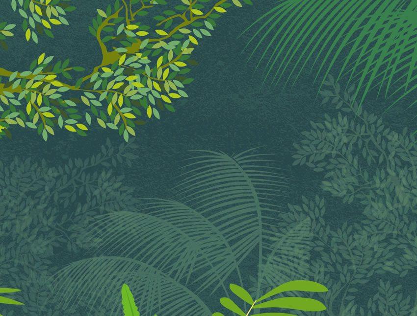 dettaglio carta da parati giungla