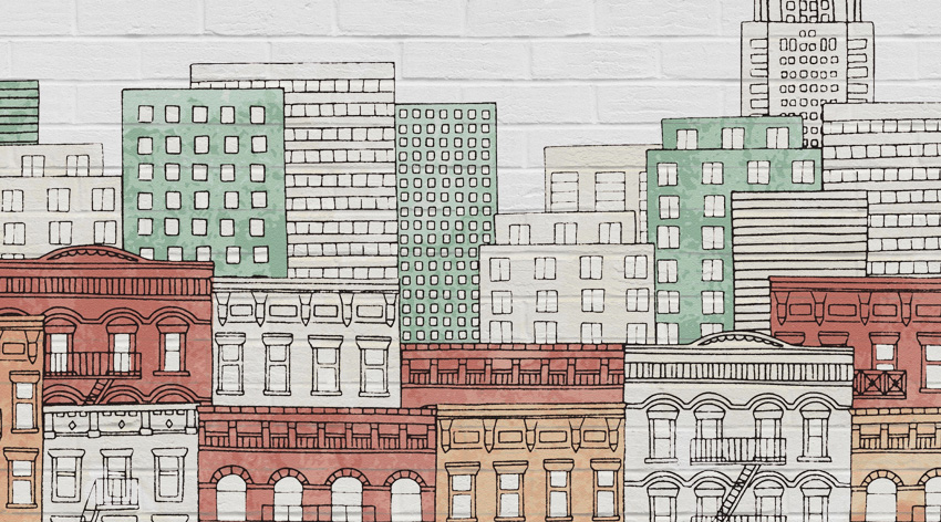 dettaglio carta da parati muro new york