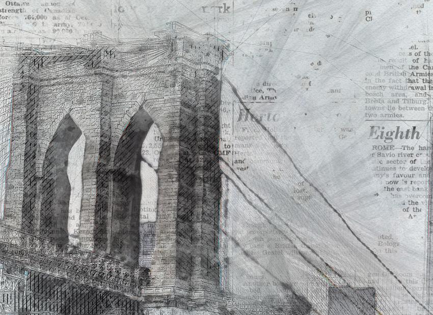 dettaglio carta da parati ponte nella nebbia
