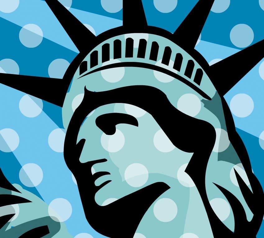 Dettaglio della statua americana con il volto di donna