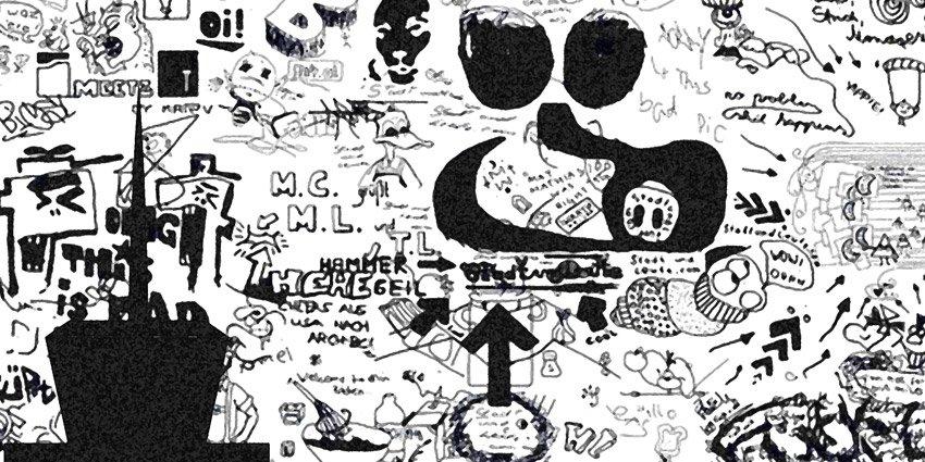Dettaglio dei graffiti presenti nella carta da parati