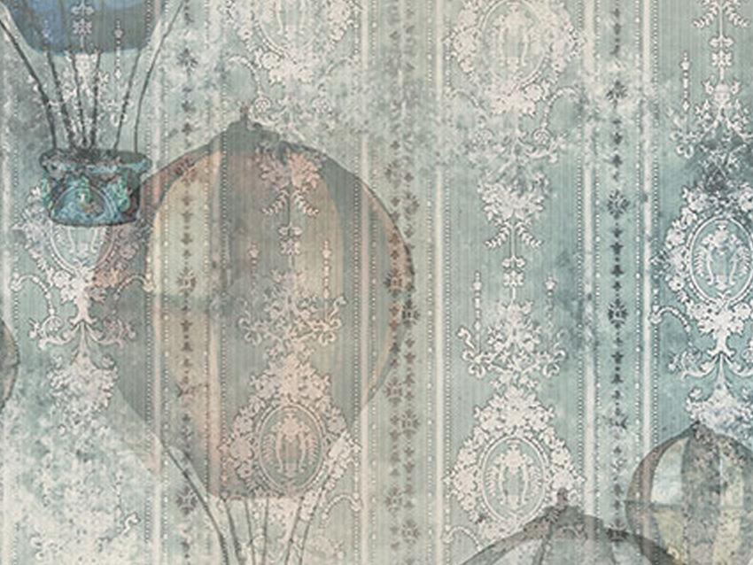 dettaglio carta da parati mongolfiere vintage