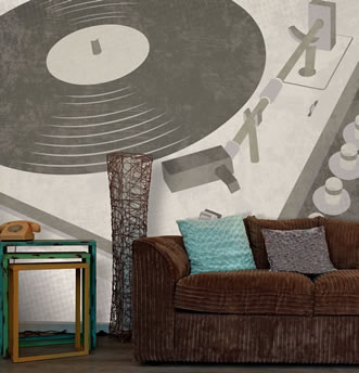 giradischi � una carta da parati ideale per case arredate in stile anni 70