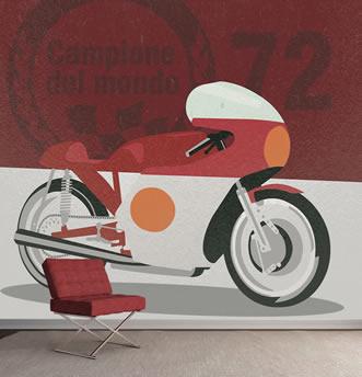 carta da parati moto anni 70