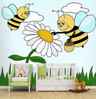 parati per i pi� piccoli con api e fiori