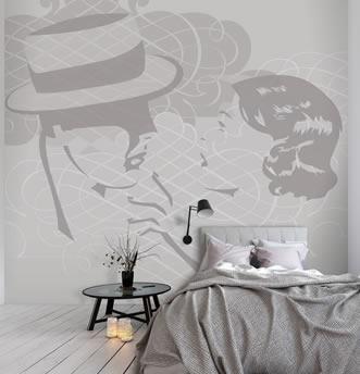Camera da letto con carta da parati desiderio