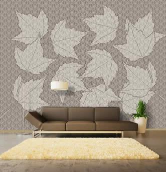 carta da parati damascata decoro di foglie