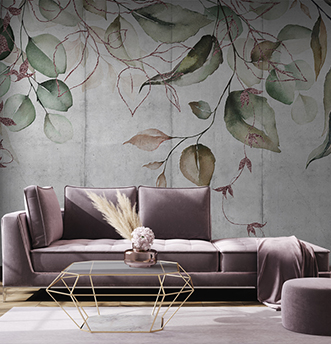 carta da parati foglie su parete