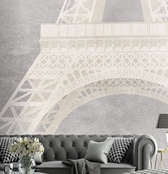 Carta da parati effetto cemento con grafica Eiffel