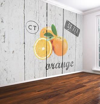 parati assi di legno e arance