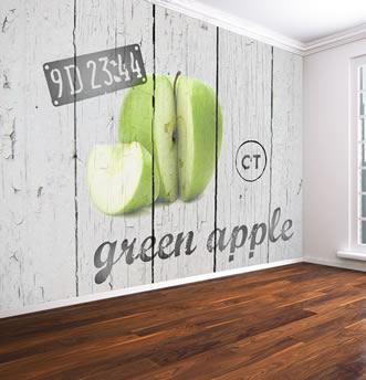 carta da parati assi di legno e mela