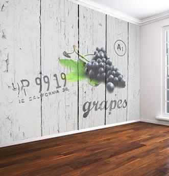 carta da parati assi di legno e uva