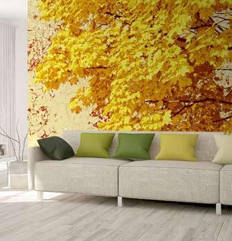 paesaggio con foglie d'autunno