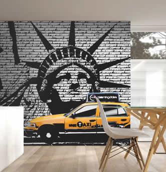 Carta da parati con statua e taxi tipici di New York