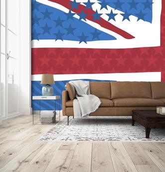 immagine della bandiera uk e usa in stile pop art