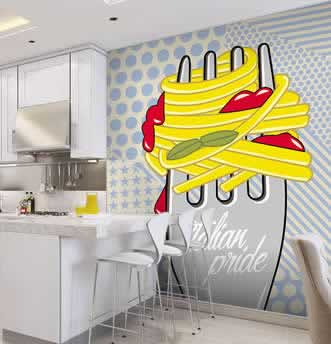 carta da parati in stile pop art con forchetta e spaghetti