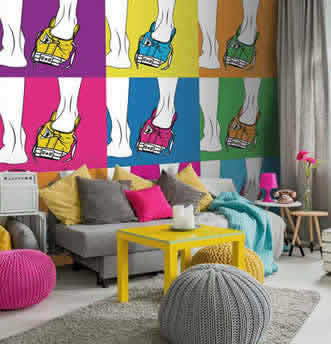 Scarpe rappresentate in stile pop art
