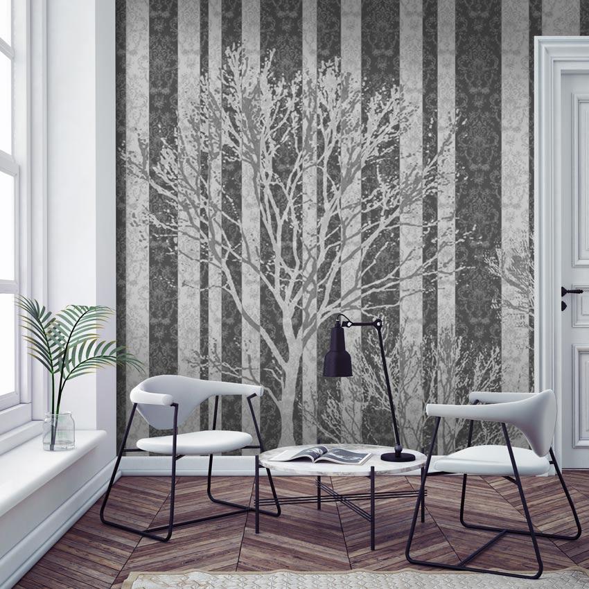 alberi a righe carta da parati a righe