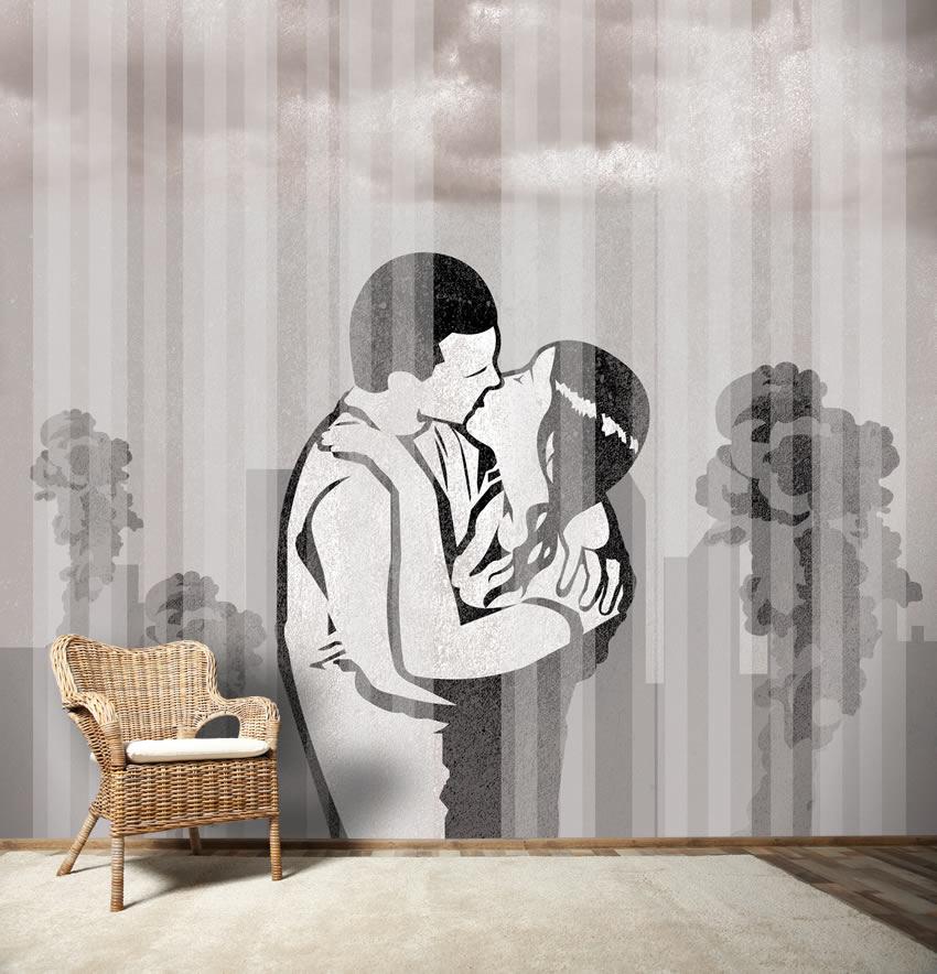 Strisce su bacio carta da parati a righe for Carta parati strisce