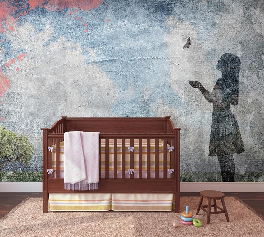 Bambina con farfalla carta da parati effetto cemento for Carta da parati camera ragazzi