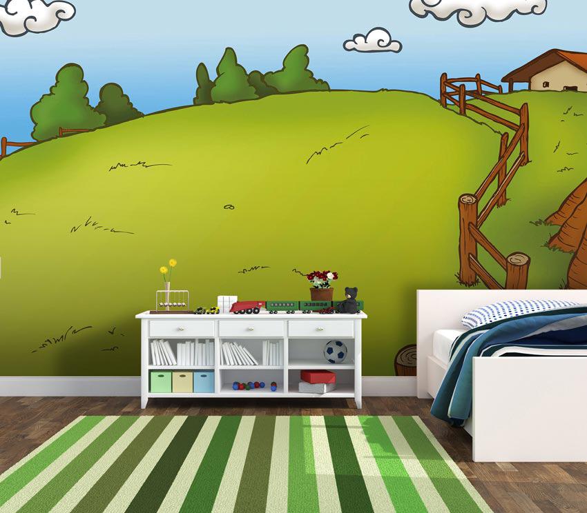 Disegno colorato applicato nella parete della stanzetta di un bimbo