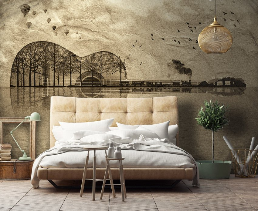 Awesome parati moderni camera da letto ideas design for Carta da parati alberi