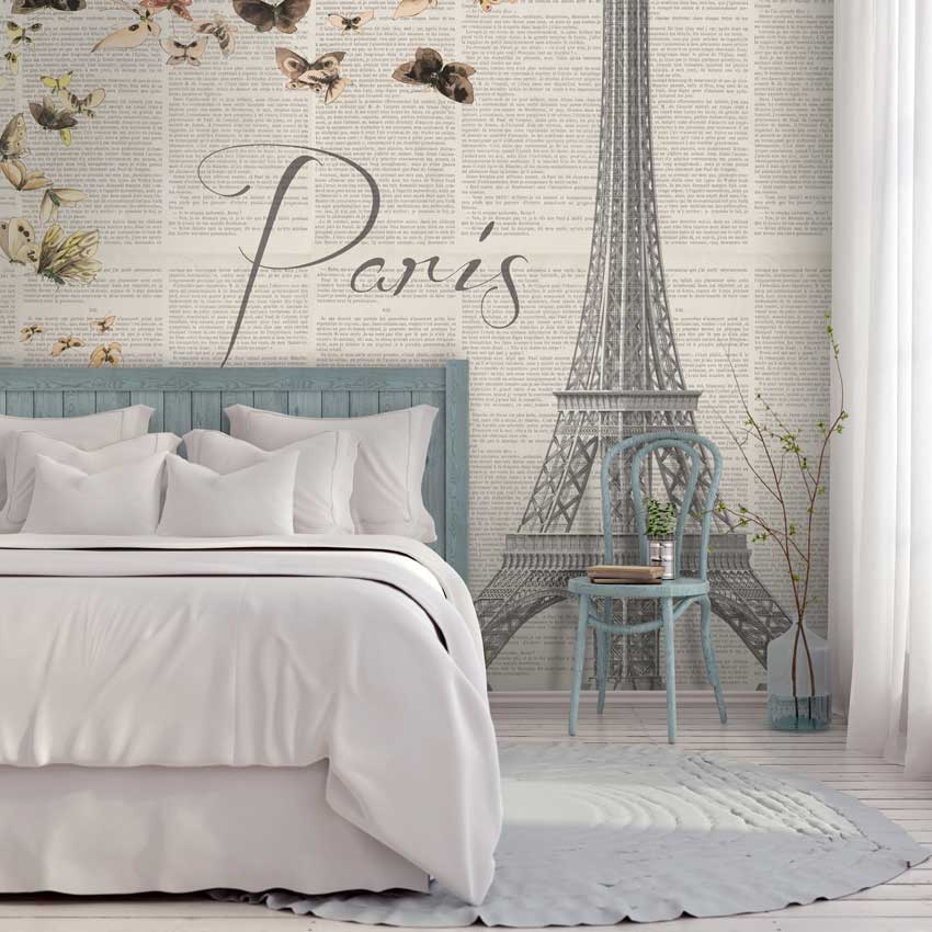 sognando parigi carta da parati camera da letto