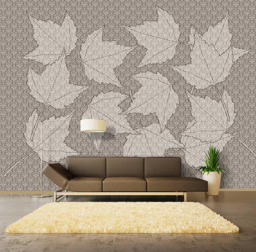 decoro di foglie: carta da parati damascata