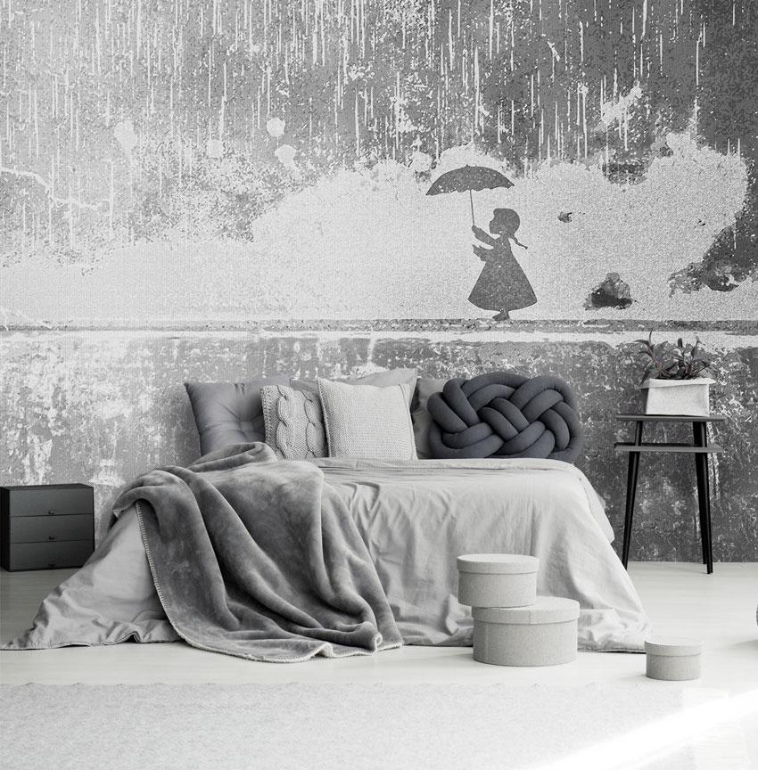 Bambina su muretto carta da parati effetto cemento for Carta da parati effetto murales