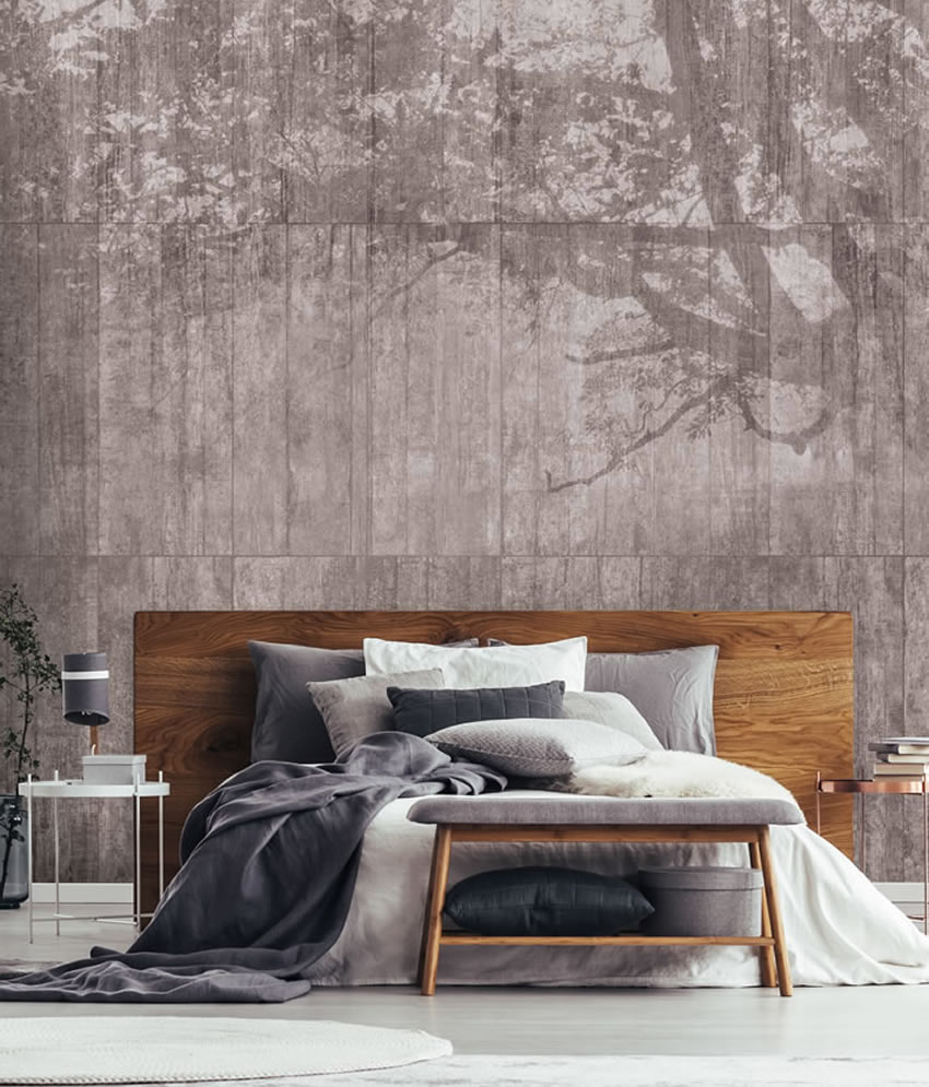 Carta da parati muro della cartegoria effetto cemento - Camera da letto con carta da parati ...