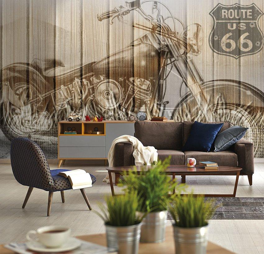 Moto 66 carta da parati effetto legno for Carte parati decorative