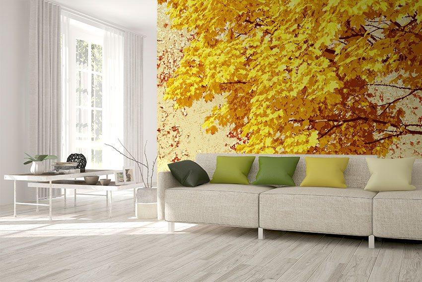 Carta da parati con albero e foglie d'autunno