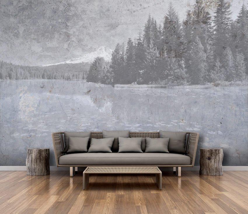 wallpaper lago applicato su muro