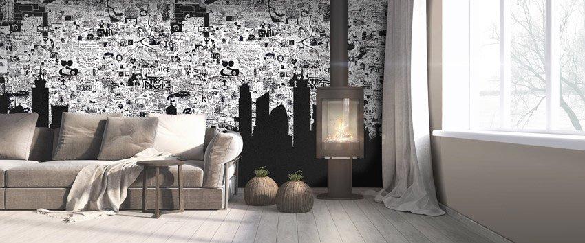 Immagine della carta da parati incollata a parete