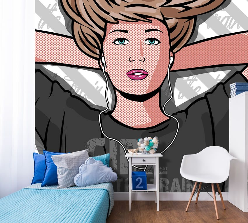 Immagine pop incollata su un muro con colori accesi