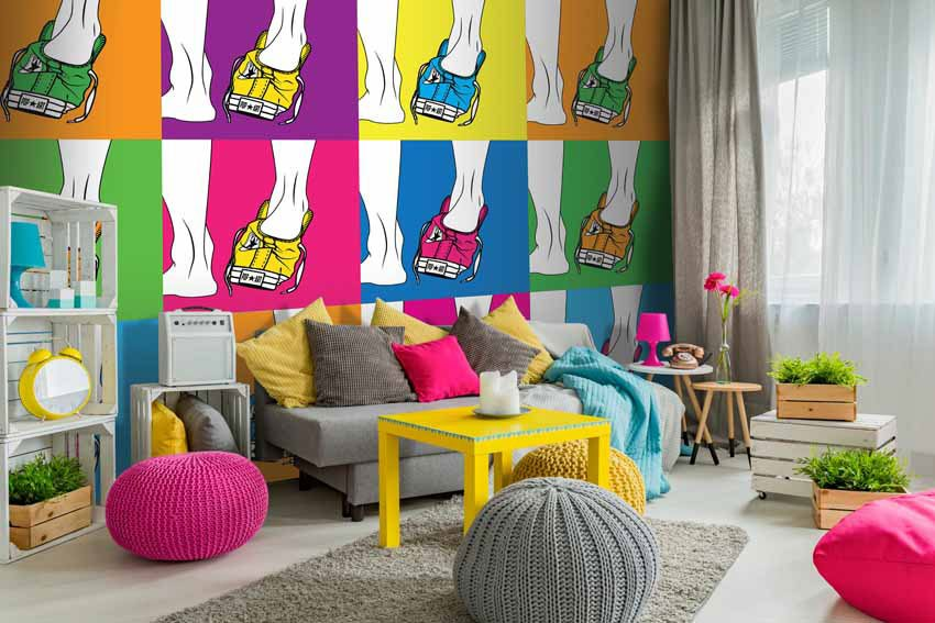 carta da parati incollata in casa in stile pop art