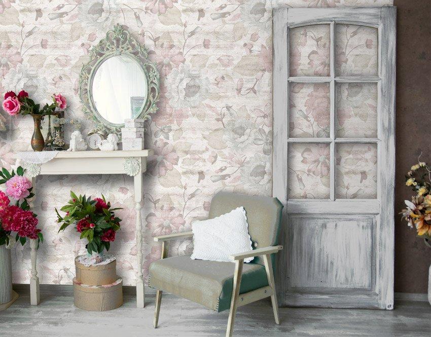 Rose e cemento carta da parati camera da letto for Cornici per quadri shabby chic