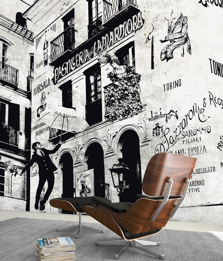 fiaba in citt carta da parati vintage. Black Bedroom Furniture Sets. Home Design Ideas