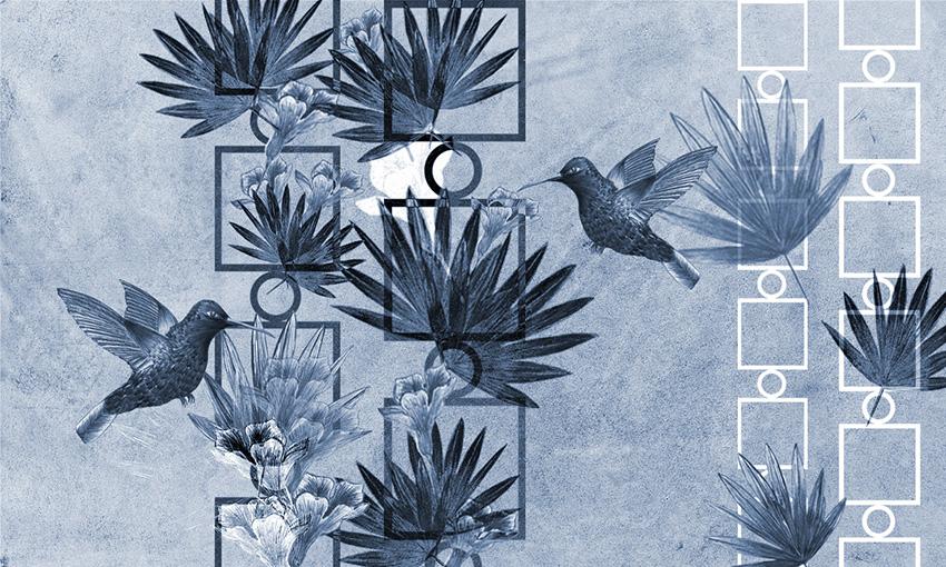 carta da parati uccelli in volo colore 3