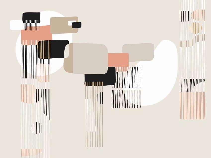 Terza variante di colore carta da parati parete astratta