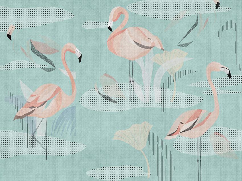 carta da parati flamingo colore 3