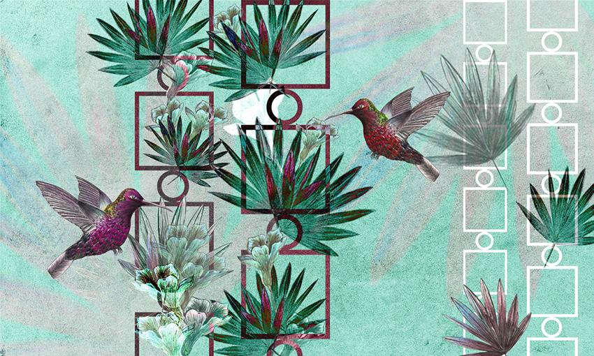 carta da parati uccelli in volo colore 5