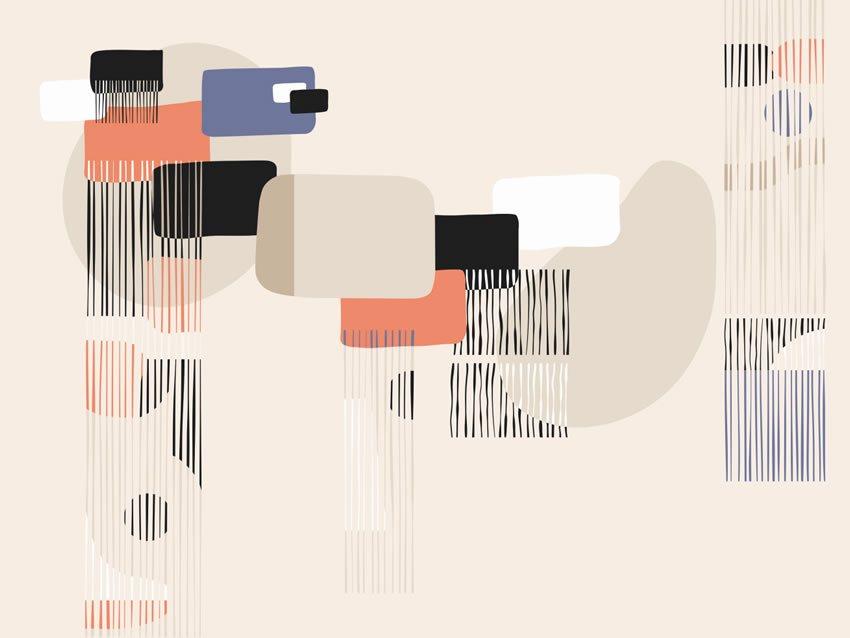 Quarta variante di colore carta da parati parete astratta