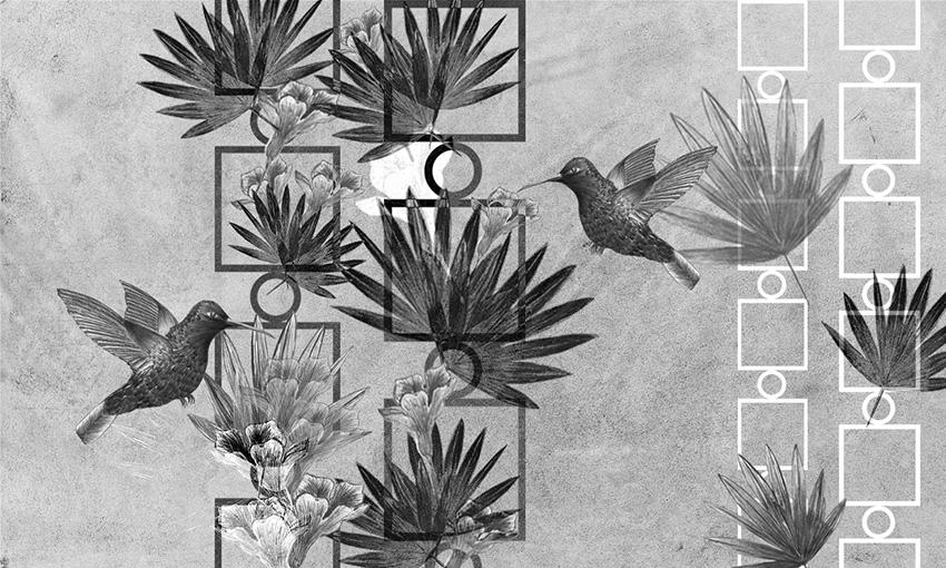 carta da parati uccelli in volo colore 2