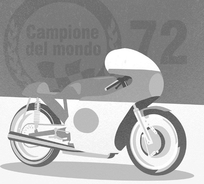 Variante in bianco e nero della carta da parati moto